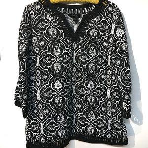 Style & Co black white linen top 14P EUC